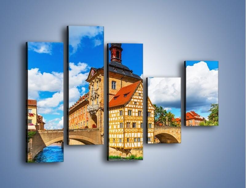 Obraz na płótnie – Ratusz w mieście Bamberg – pięcioczęściowy AM513W4