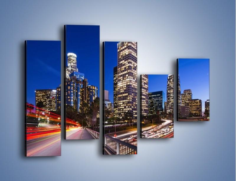 Obraz na płótnie – Los Angeles w wieczornych światłach – pięcioczęściowy AM522W4
