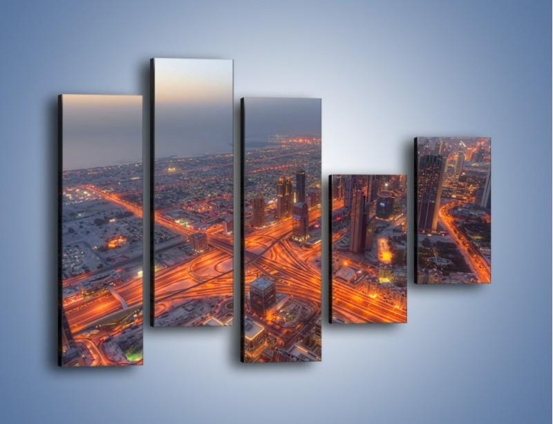 Obraz na płótnie – Panorama Dubaju o poranku – pięcioczęściowy AM538W4