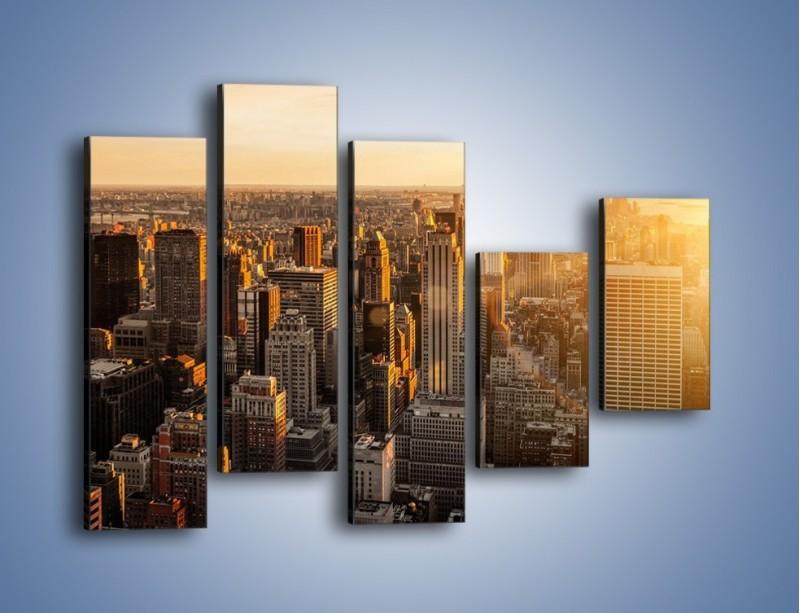 Obraz na płótnie – Zachód słońca nad Nowym Jorkiem – pięcioczęściowy AM550W4