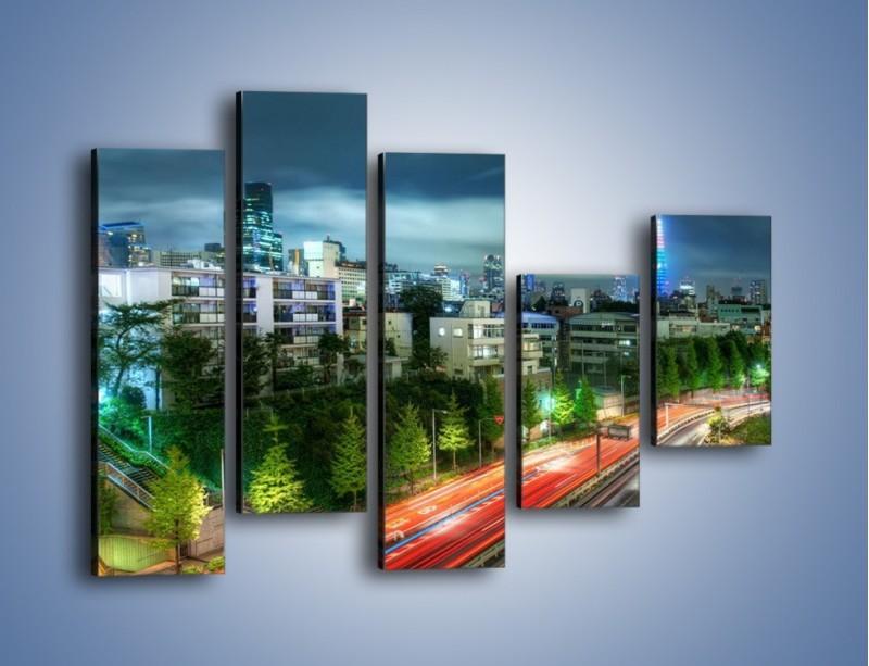Obraz na płótnie – Miasto Roppongi w Japonii – pięcioczęściowy AM593W4