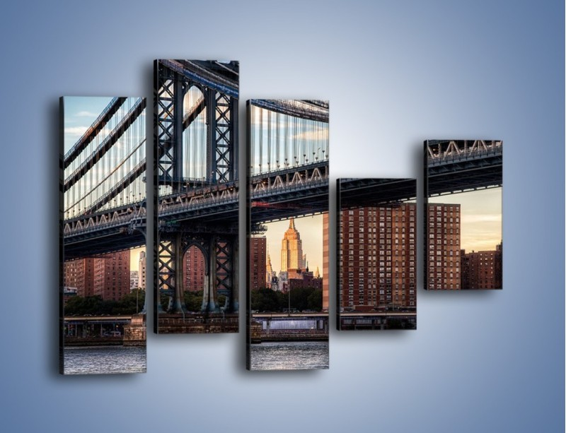 Obraz na płótnie – Manhattan Bridge – pięcioczęściowy AM607W4