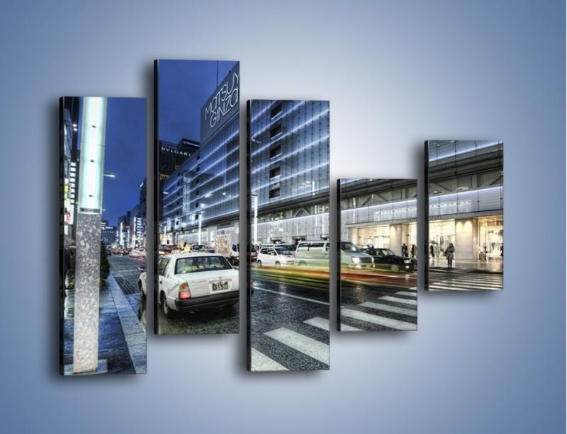 Obraz na płótnie – Ulica Tokyo w deszczu – pięcioczęściowy AM613W4