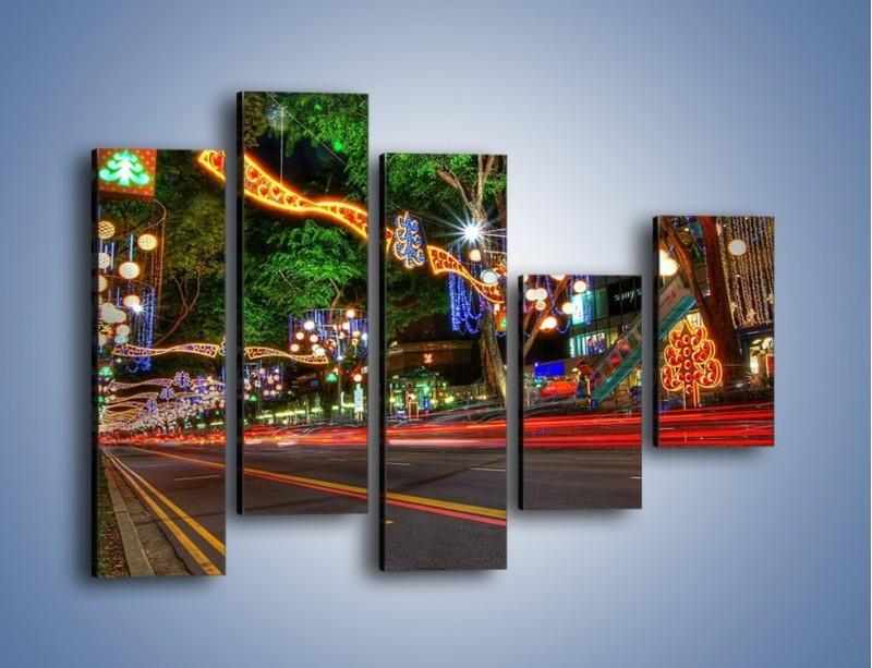 Obraz na płótnie – Noworoczne dekoracje w Singapurze – pięcioczęściowy AM616W4