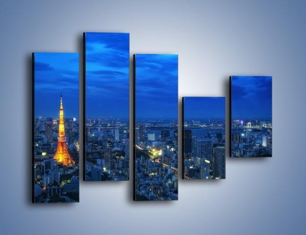 Obraz na płótnie – Tokyo Tower w Japonii – pięcioczęściowy AM621W4