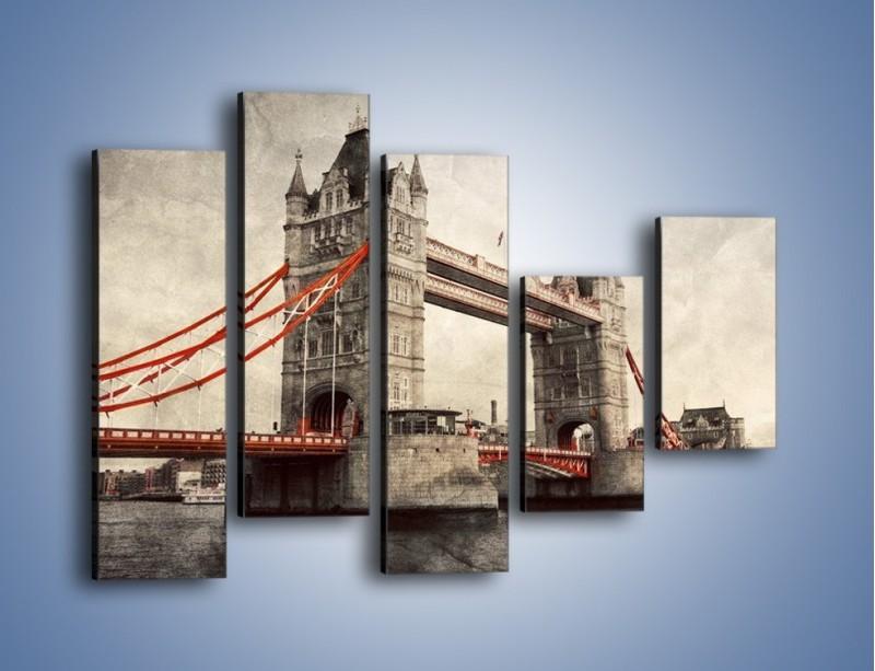 Obraz na płótnie – Tower Bridge w stylu vintage – pięcioczęściowy AM668W4