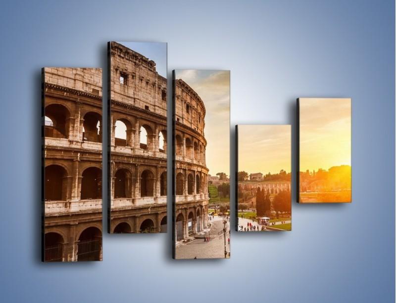 Obraz na płótnie – Rzymskie Koloseum o zachodzie słońca – pięcioczęściowy AM684W4