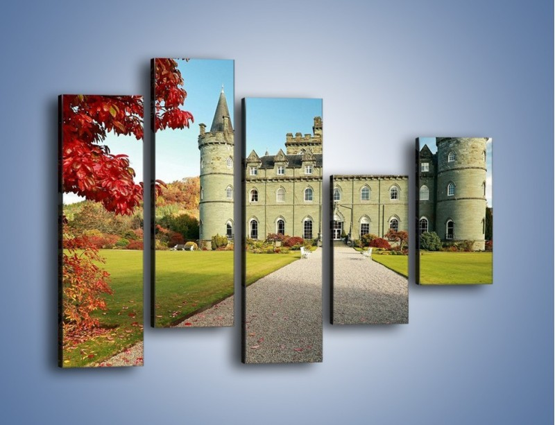 Obraz na płótnie – Zamek Inveraray w Szkocji – pięcioczęściowy AM691W4