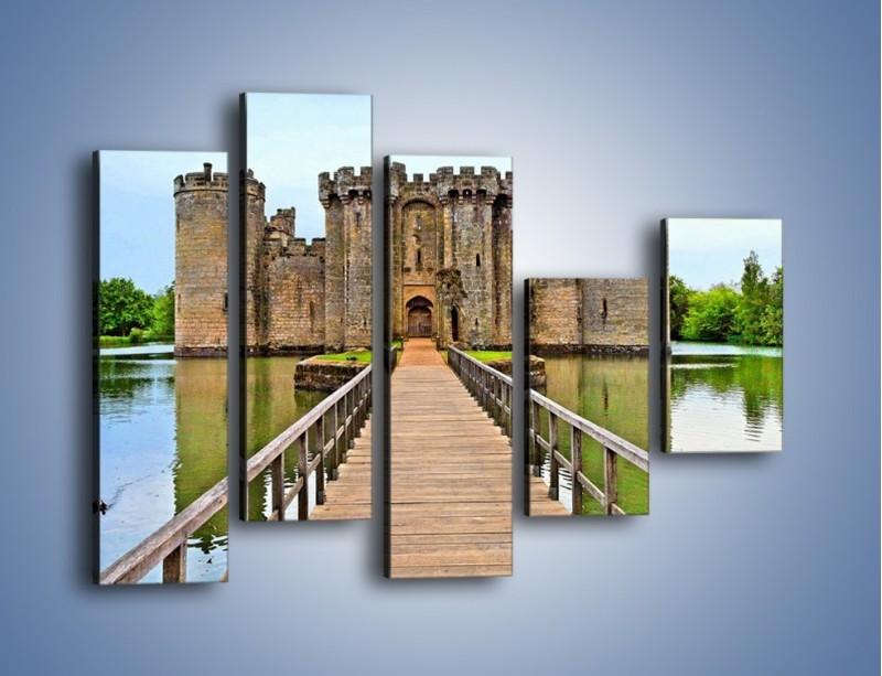 Obraz na płótnie – Zamek Bodiam w Wielkiej Brytanii – pięcioczęściowy AM692W4