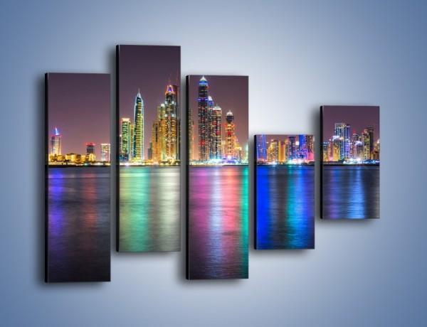 Obraz na płótnie – Kolorowe drapacze chmur w Dubaju – pięcioczęściowy AM724W4