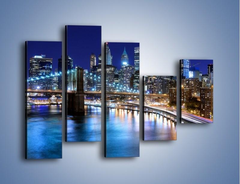 Obraz na płótnie – Nocne światła Nowego Yorku – pięcioczęściowy AM726W4
