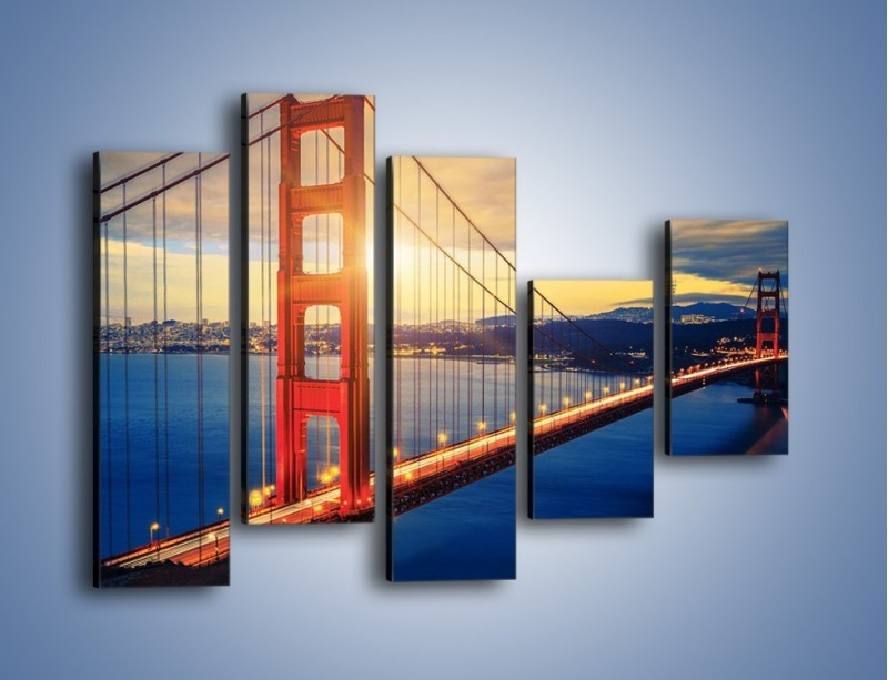 Obraz na płótnie – Zachód słońca nad Mostem Golden Gate – pięcioczęściowy AM738W4