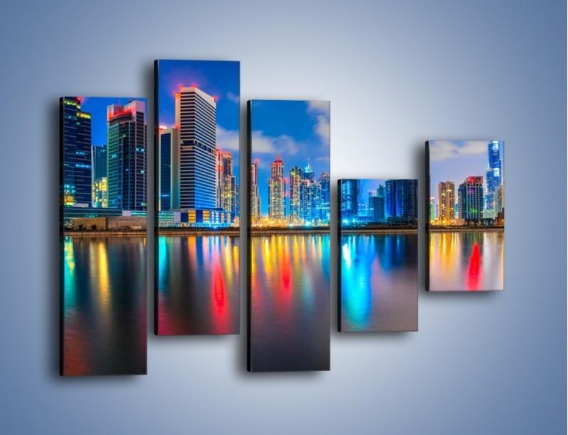 Obraz na płótnie – Kolory Dubaju odbite w wodzie – pięcioczęściowy AM740W4