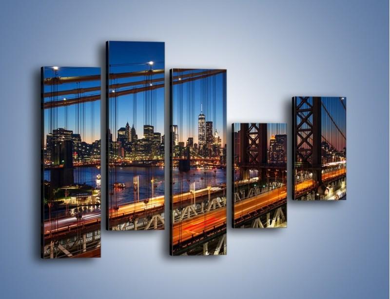 Obraz na płótnie – Nowojorskie mosty na tle Manhattanu – pięcioczęściowy AM751W4