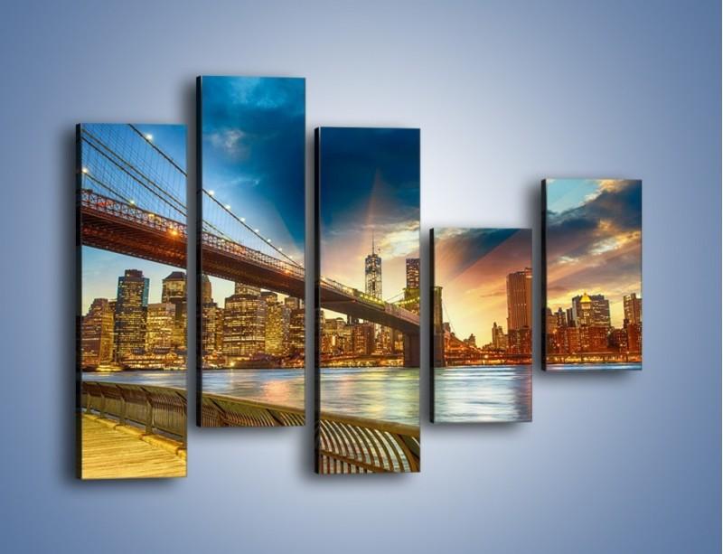Obraz na płótnie – Most w Nowym Jorku o zmierzchu – pięcioczęściowy AM754W4