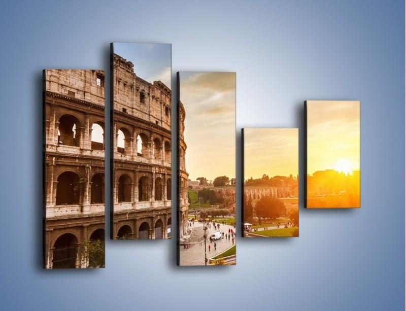 Obraz na płótnie – Zachód słońca nad Rzymem – pięcioczęściowy AM763W4