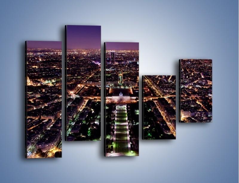 Obraz na płótnie – Panorama Paryża z Wieży Eiffla – pięcioczęściowy AM764W4