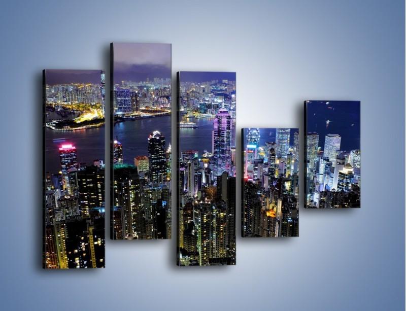 Obraz na płótnie – Nocna panorama Hong Kongu – pięcioczęściowy AM772W4