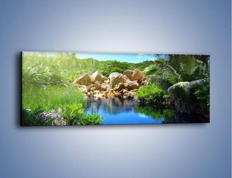 Obraz na płótnie – Wapienne skałki na wodzie – jednoczęściowy panoramiczny KN1188A