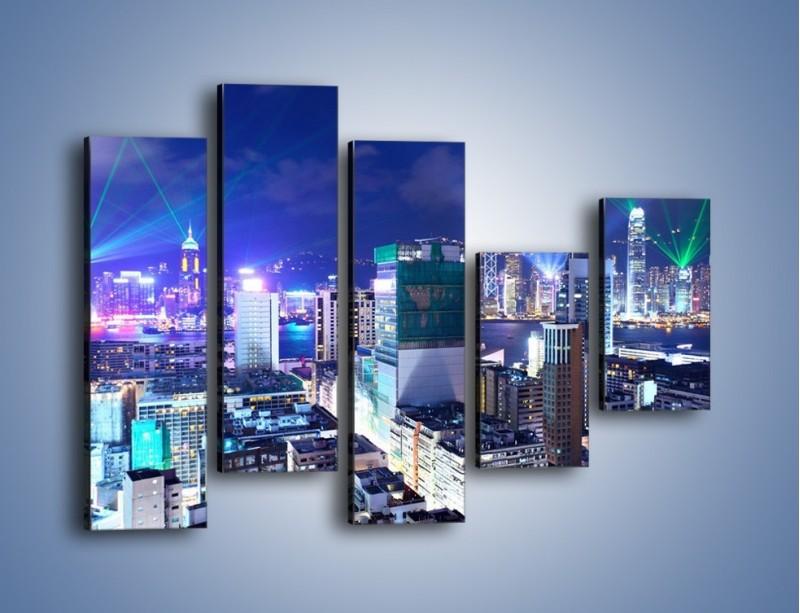 Obraz na płótnie – Pokaz laserów nad Hong Kongiem – pięcioczęściowy AM796W4