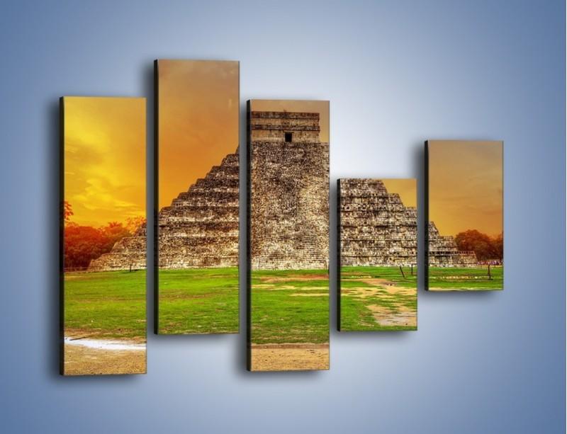 Obraz na płótnie – Piramida Kukulkana w Meksyku – pięcioczęściowy AM814W4