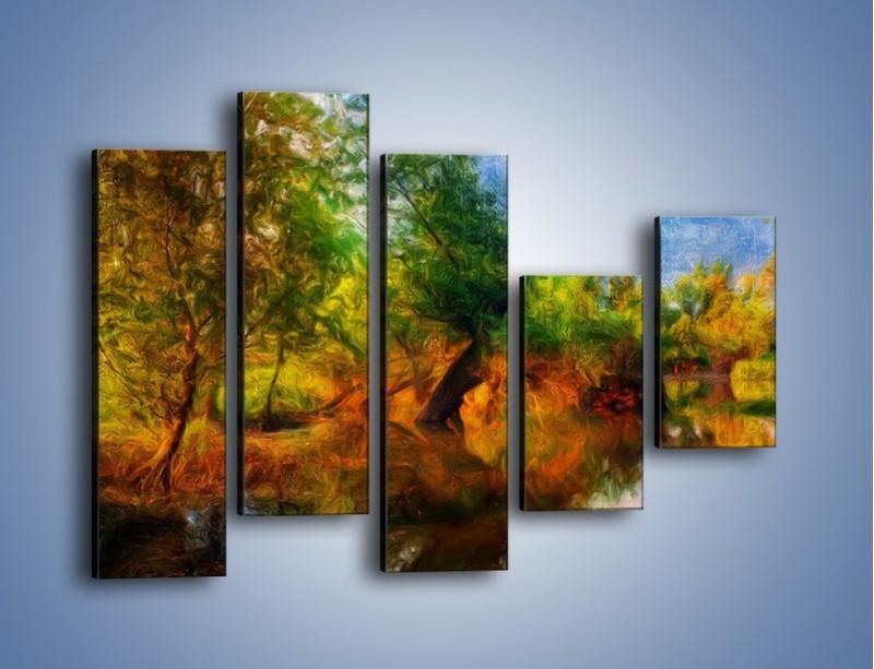 Obraz na płótnie – Drzewa w wodnym lustrze – pięcioczęściowy GR010W4