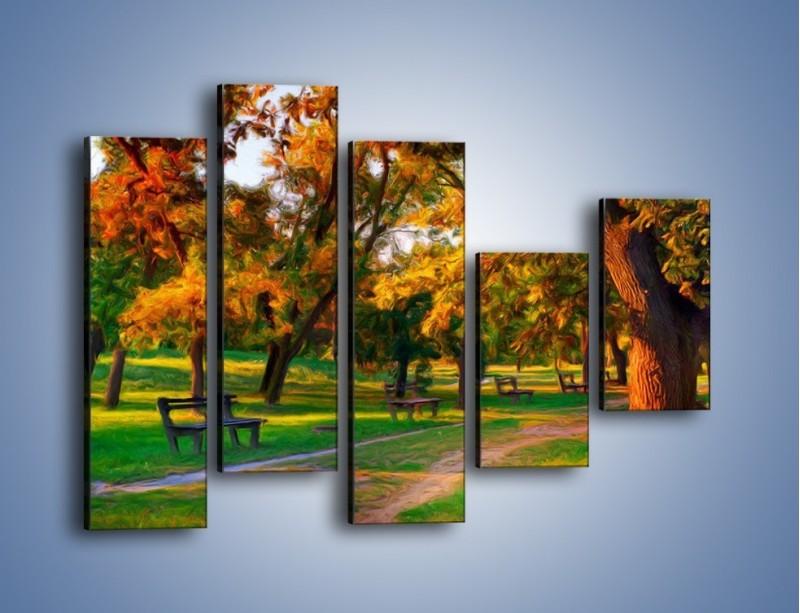 Obraz na płótnie – Ławeczka w parku – pięcioczęściowy GR011W4
