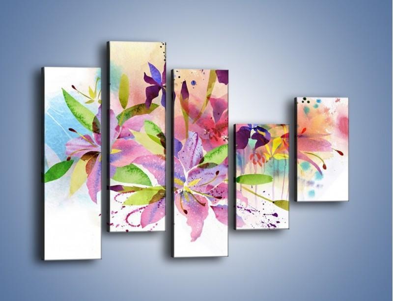 Obraz na płótnie – Kolory zachowane w kwiatach – pięcioczęściowy GR043W4
