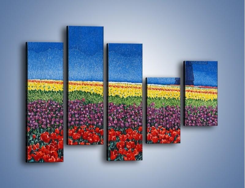 Obraz na płótnie – Spacer przez kolorowe maki – pięcioczęściowy GR049W4