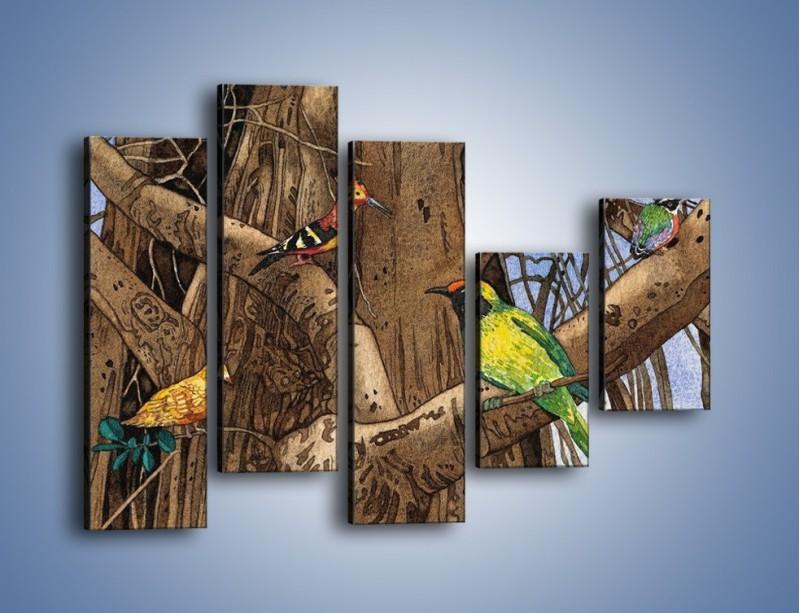 Obraz na płótnie – Mali przyjaciele na drzewie – pięcioczęściowy GR050W4