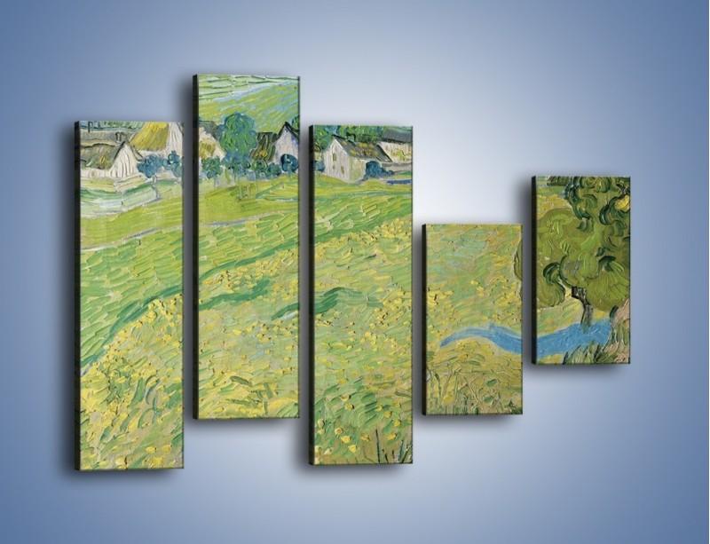 Obraz na płótnie – Łąka i małe domki – pięcioczęściowy GR105W4