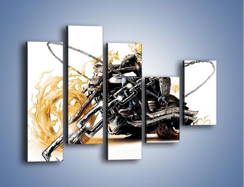 Obraz na płótnie – Mroczna postać na motorze – pięcioczęściowy GR167W4