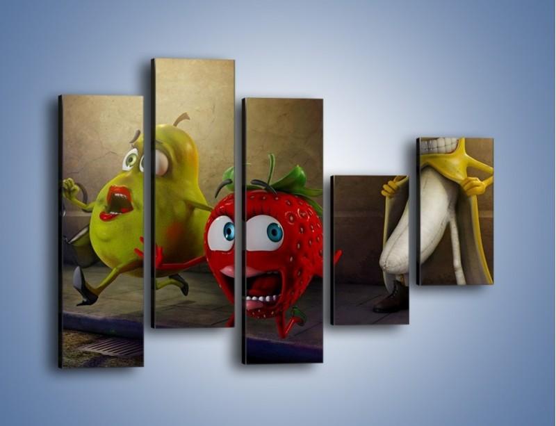 Obraz na płótnie – Strach w owocowych oczach – pięcioczęściowy GR253W4