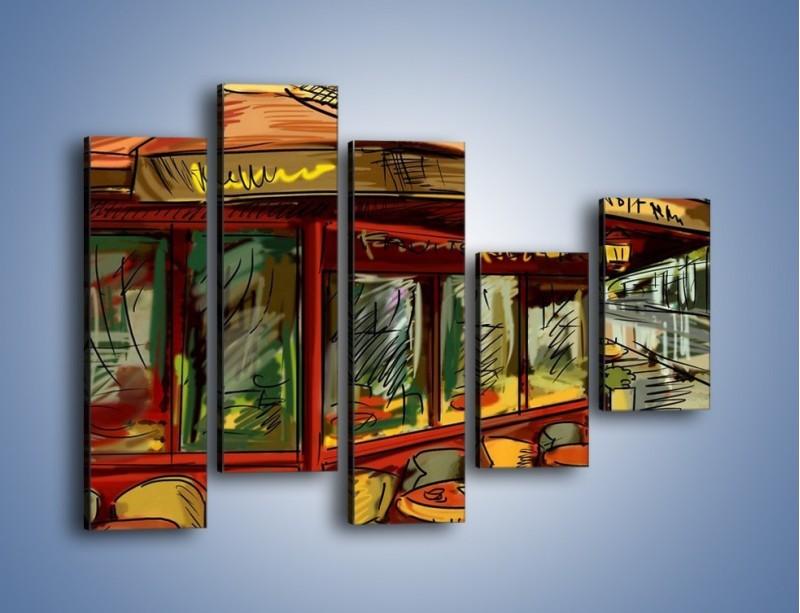 Obraz na płótnie – Paryskie kawiarenki pod daszkiem – pięcioczęściowy GR261W4