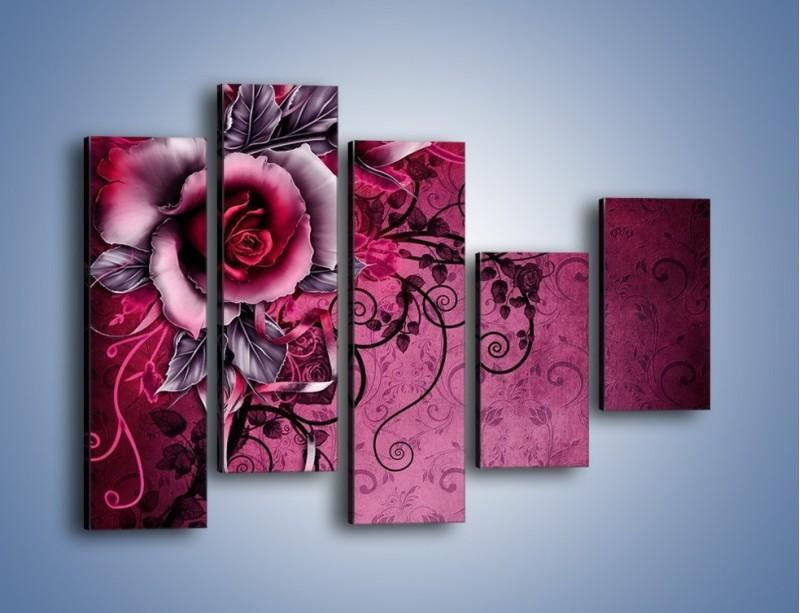 Obraz na płótnie – Róża i purpur – pięcioczęściowy GR272W4
