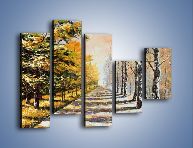 Obraz na płótnie – Trochę jesieni trochę zimy – pięcioczęściowy GR292W4