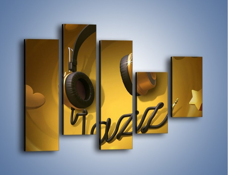 Obraz na płótnie – Złote nuty jazzu – pięcioczęściowy GR305W4