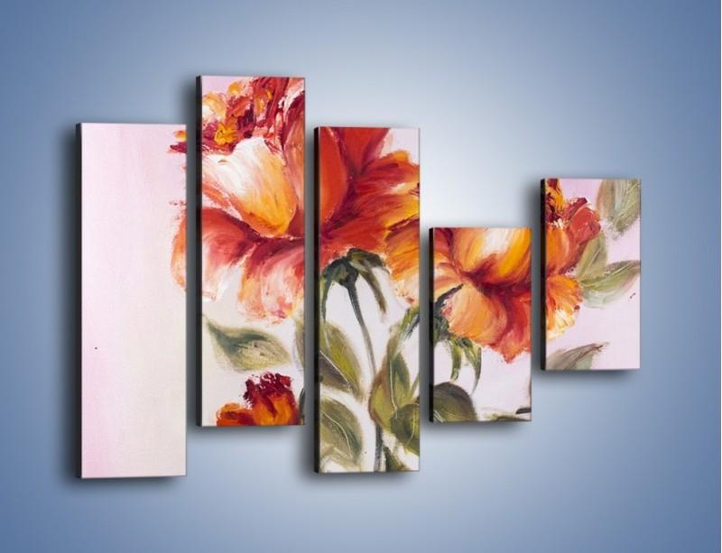 Obraz na płótnie – Kwiaty na płótnie malowane – pięcioczęściowy GR322W4