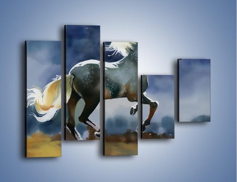 Obraz na płótnie – Bieg z koniem przez noc – pięcioczęściowy GR339W4