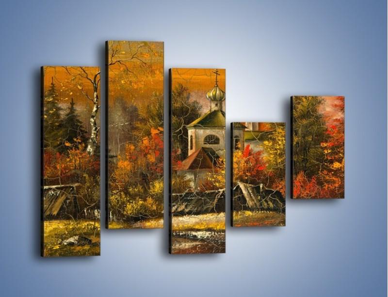 Obraz na płótnie – Kaplica późną jesienią – pięcioczęściowy GR369W4