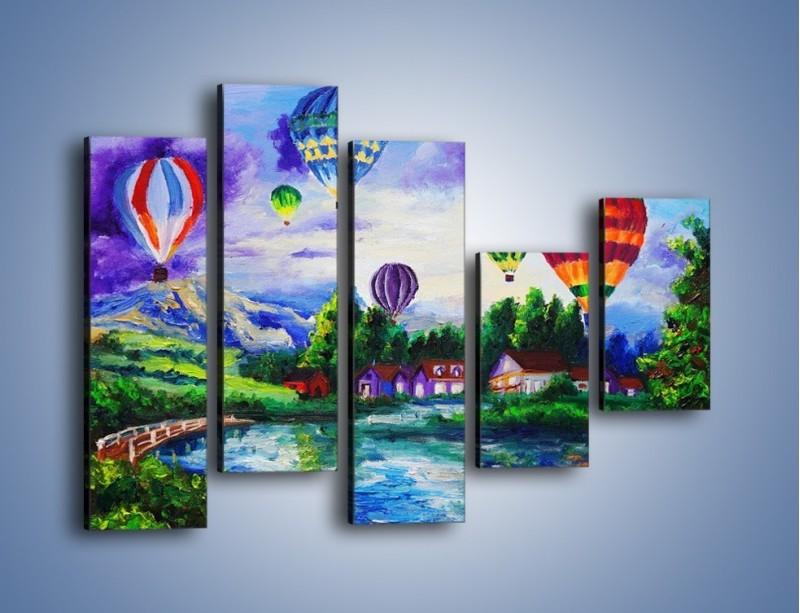 Obraz na płótnie – Lot kolorowym balonem – pięcioczęściowy GR482W4