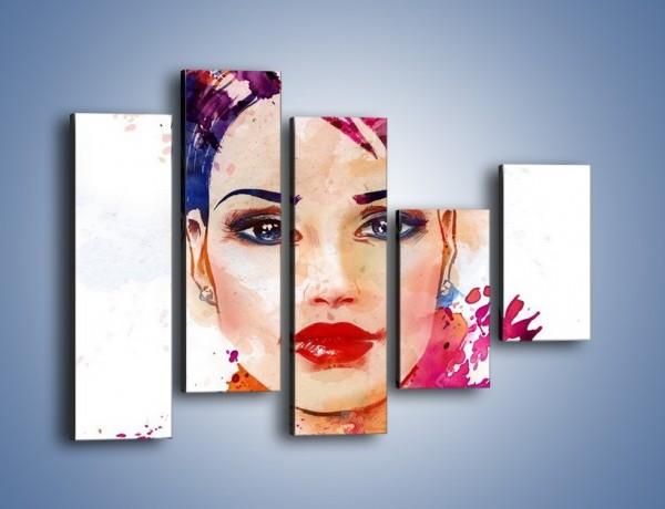 Obraz na płótnie – Piękna kobieta w kolorze – pięcioczęściowy GR499W4
