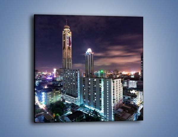 Obraz na płótnie – Duże miasto nocą – jednoczęściowy kwadratowy AM202