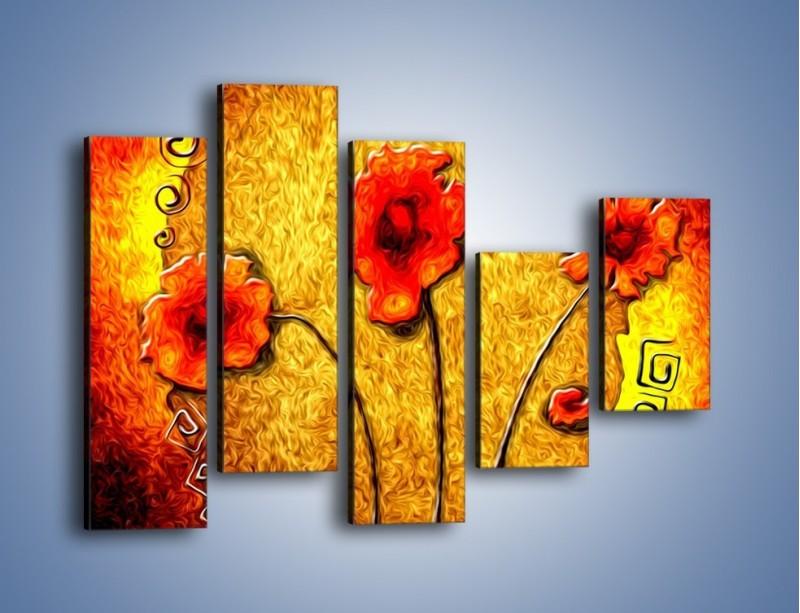 Obraz na płótnie – Maki w ogniu – pięcioczęściowy GR572W4