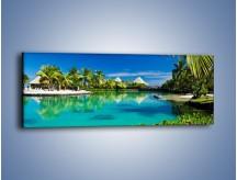 Obraz na płótnie – Biały piasek i palmy – jednoczęściowy panoramiczny KN1201A