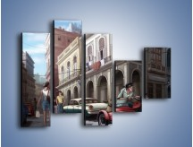 Obraz na płótnie – Codzienne życie na kubie – pięcioczęściowy GR627W4
