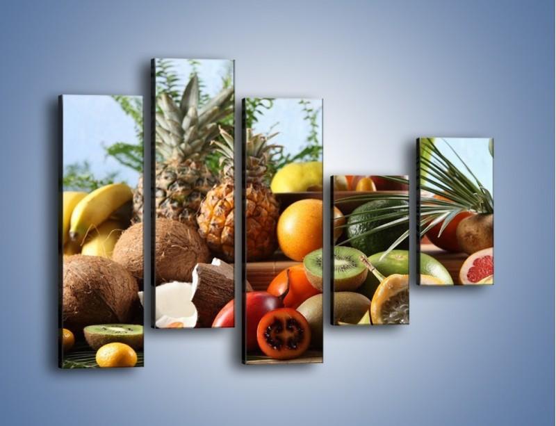 Obraz na płótnie – Mix owocowy na drewnianym stole – pięcioczęściowy JN009W4