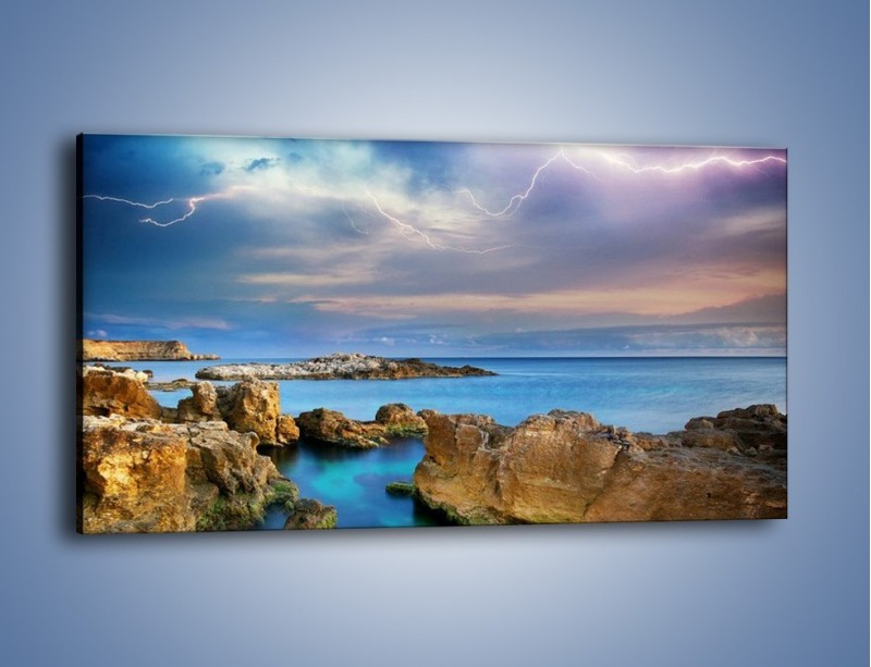 Obraz na płótnie – Pioruny nad oceanem – jednoczęściowy panoramiczny KN1203A