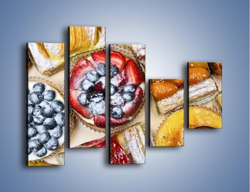 Obraz na płótnie – Kolorowe wypieki z dodatkiem owoców – pięcioczęściowy JN032W4