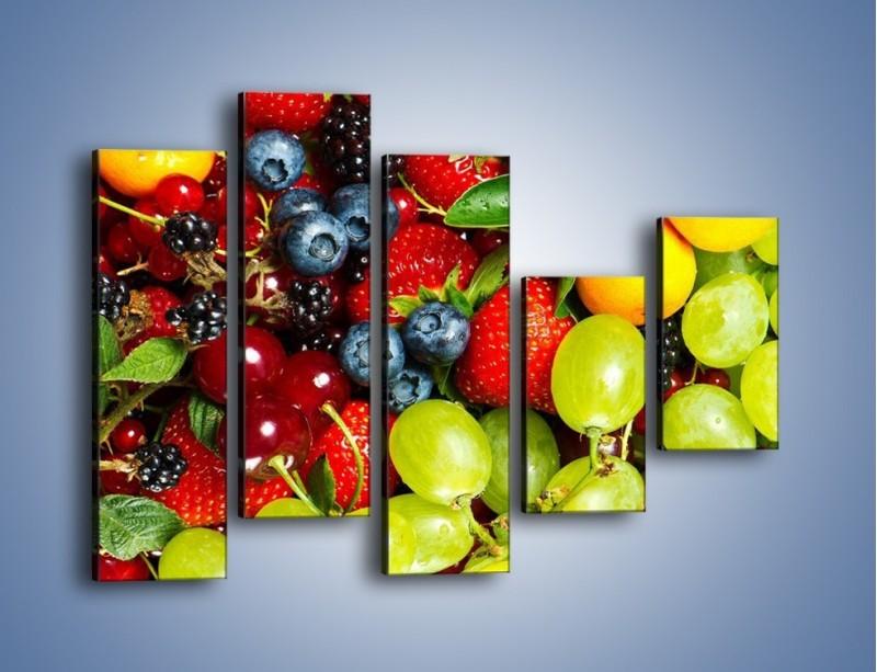 Obraz na płótnie – Wymieszane kolorowe owoce – pięcioczęściowy JN037W4